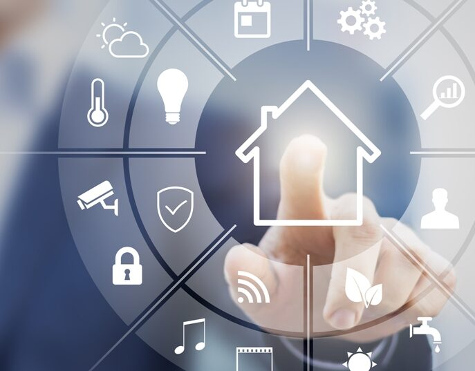 Photos of a person pressing a home with several smart home symbols around it including a lightbulb, security camera, lock, music, audio, wifi, sun, faucet, leaf, gears, thermometer, clouds, etc