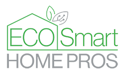 Eco Smart Home Pros Logo is a green house with the initials ESHP inside. There is a green and grey leaf on the upper right side of the roof. The Grey leaf has a little circuit symbol to represent technology.